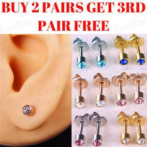 Ear Piercing Studs Stud Earrings Surgical Steel Pairs Rose Gold Silver
