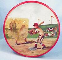 Baseball Scenes Tin 1950s Advertises Cherrydale Farms Cashew Butter Crunch Candy