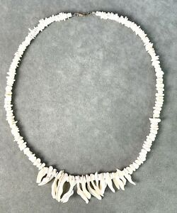 """Necklace 24"""" Iridescent Mother of Pearl natural shell creamy tones MOP spears"""