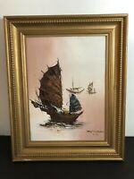 Tony Wong Signed Original Hong Kong Oil On Canvas Sail Boat Painting b1948