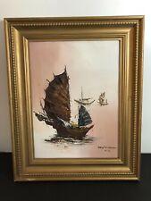 Tony Wong Signed Original Hong Kong Oil On Canvas Sail Boat Painting b1948