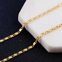 "20"" Chain Necklace Link Gold Jewerly Yellow Chain 18K Women Fashion Men"
