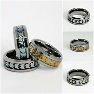 Ring Silver Tungsten Carbide Men's Women's Wedding Band Butterfly Inlay 8mm