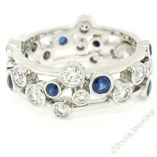 Tiffany & Co. Bubbles Platinum 1.87ctw Diamond & Sapphire Eternity Band Ring Sz6