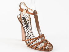 New  Roberto Cavalli Brown Leather Sandals Size 37 US 7