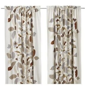 RARE Pair Of Ikea Stockholm Blad Neutral Leaf Curtain Panels - Excellent Cond.