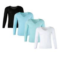 Damen Langarm Oberteil Pullover mit V-Ausschnitt Unterhemd Funktionsunterwäsche
