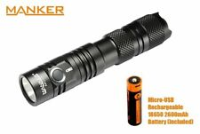 New Manker MC11 (White) Cree XP-L 1300LM LED Flashlight Torch (With USB battery)