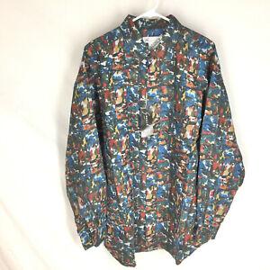 GOOUCH Men's Large Long Sleeve Shirt Linen Button-Up 90s Abstract Art NWT VTG