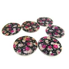 6 x Shabby Chic Printed Shell Disc Charm Pendant Beads Black Pink Roses 25 mm