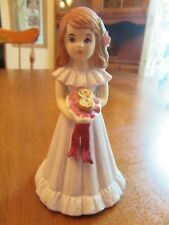 "Growing Up Birthday Girls Age 8 Brunette Lavender Dress 4 1/2"" (1982) Enesco"
