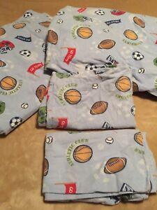 Flannel 4 Pc Full Sheet Set~Sports Game~Football~Basketball~Soccer Ball~Baseball