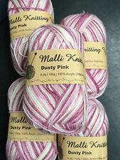 3 X 100g Malli 8ply Acrylic Knitting & Crochet Yarn Pinkish Red Green White Mix