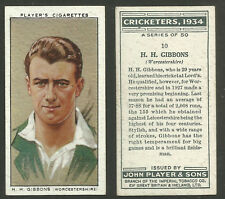 PLAYER'S 1934 CRICKETERS H.H.GIBBONS Card No 10 of 50 CRICKET CIGARETTE CARD