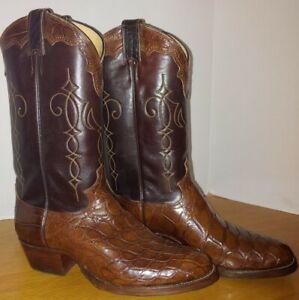 Vintage Men's Justin 9713 Alligator / Cognac Brown Leather Cowboy Boots Size 9 D