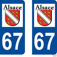 67 Alsace - Logo Type  Autocollant plaque immatriculation Auto 2 ex