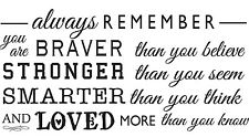 """ALWAYS REMEMBER YOU ARE Vinyl Wall Art Decal Decor Lettering Words Quote 36"""""""