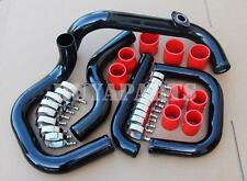 """2.5"""" Black Bolt-On Piping Kit w/Red Coupler + S/RS Flange Pipe For Integra 94-01"""