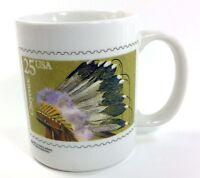USPS 25¢ Cent Stamp Coffee Mug Cheyenne Native 1990 Stearns & Lehman Vintage