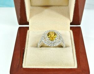 CITRINE & TOPAZ ACCENTS RHODIUM OVER 925 STERLING SILVER DOUBLE HALO RING SZ 7