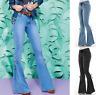 Women Retro Denim Jeans High Waist Bell Bottom Flare Pants Wide Leg Trousers 3XL