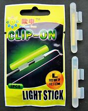 2 X CLIP ON FISHING ROD TIP LIGHTS / LIGHTSTICKS, (SIZE: LARGE)