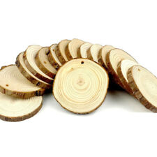 15 Pieces Set 8-9cm Unfinished Predrilled Wood Slices Round Log Discs With