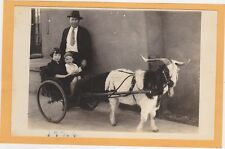 Real Photo Postcard RPPC - Girl and Boy in Goat Cart - Man Standing