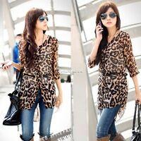 New Sexy Womens Fashion Casual Chiffon Leopard Print Shirt Tops Blouse FT