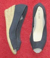 'FIORE' SHOES, 5/38 NAVY, peep toe, wedge heels, slip on, casual vgc