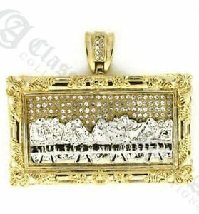 "* X Large Last Supper 14K GOLD pt Micropaved w 20"" / 30"" 12mm Cuban Chain 3013"