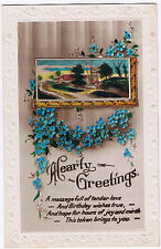 Hearty Greetings - Vintage Alpha Postcard - Tonbury 1925