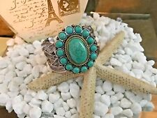 Vintage Tibetan Silver Flower Design Turquoise Cuff Bracelet Two-Tone
