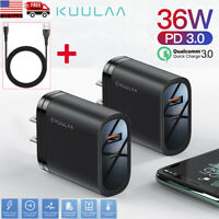 QC3.0 PD 36W Fast Quick Charge USB Type-C Cable Wall Charger Adapter US Plug