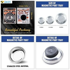 """HORUSDY 3-Piece Magnet Trays Set, 3"""" 4"""" 6"""", Round Magnetic Trays Tools Parts Tra"""