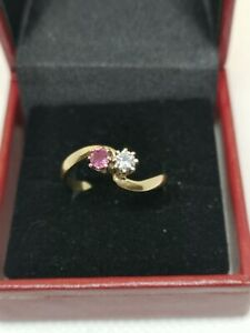 18ct Gold Ruby And Diamond TOI et MOI Ring