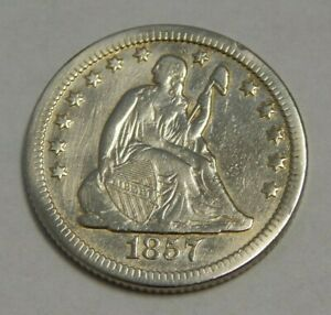1857-O - Silver Seated Liberty Quarter - 25¢ - Cleaned