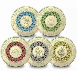 2020 TOKYO OLYMPIC GAMES $2 SET 5 SINGLE COLOURED UNCIRCULATED COINS