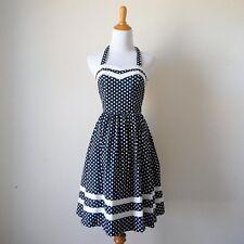 BEA & DOT Modcloth Navy Blue White Polka Dot Halter or strapless Dress Retro XS