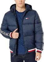 Tommy Hilfiger Mens Jacket Blue Size 2XL Front Zip Hooded Puffer $249 #200