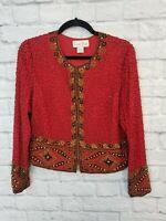 Vintage LAURENCE KAZAR Red  100 % Silk Bead Sequin Jacket Small Christmas