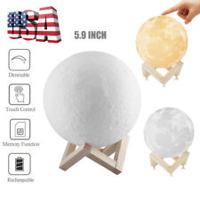 15cm 3D Printed Moon Lamp LED Night Light Moonlight USB Touch Switch Lamp
