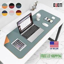 Leather Green Blue Orange Desk Mat Large Pu Mousepad 32x16 Edge Wear Spill Proof