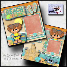 Beach Life ~ girl 2 premade scrapbooking pages paper piecing printed ~By Cherry