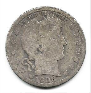 1906-D Barber Silver Quarter Dollar
