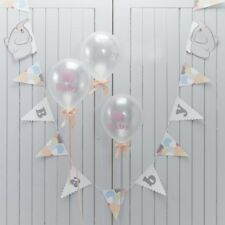 Ginger Ray Vintage Grey Peach & Pastel Baby Shower Elephant Party Bunting - Little One