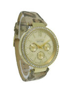 Caravelle New York 44N103 Women's Round Gold Tone Leopard Analog Day Date Watch