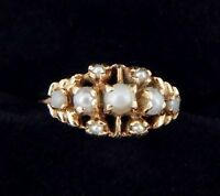Antique 14k Pearl Cluster Ring 2.4 Grams Size 6
