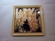 Vintage Milkweed Silhouette Girl on Swing