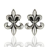 Chic Fleur de Lis Design Stud 925 Silver Oxidized Handmade Earrings Jewelry